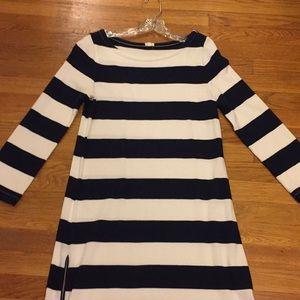 J.crew navy and white striped dress